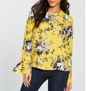 Warehouse Floral Pleat Cuff Blouse